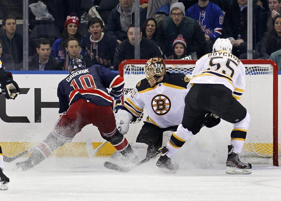 Marian Gaborik slipped this game-winning goal past Tuukka Rask in overtime.