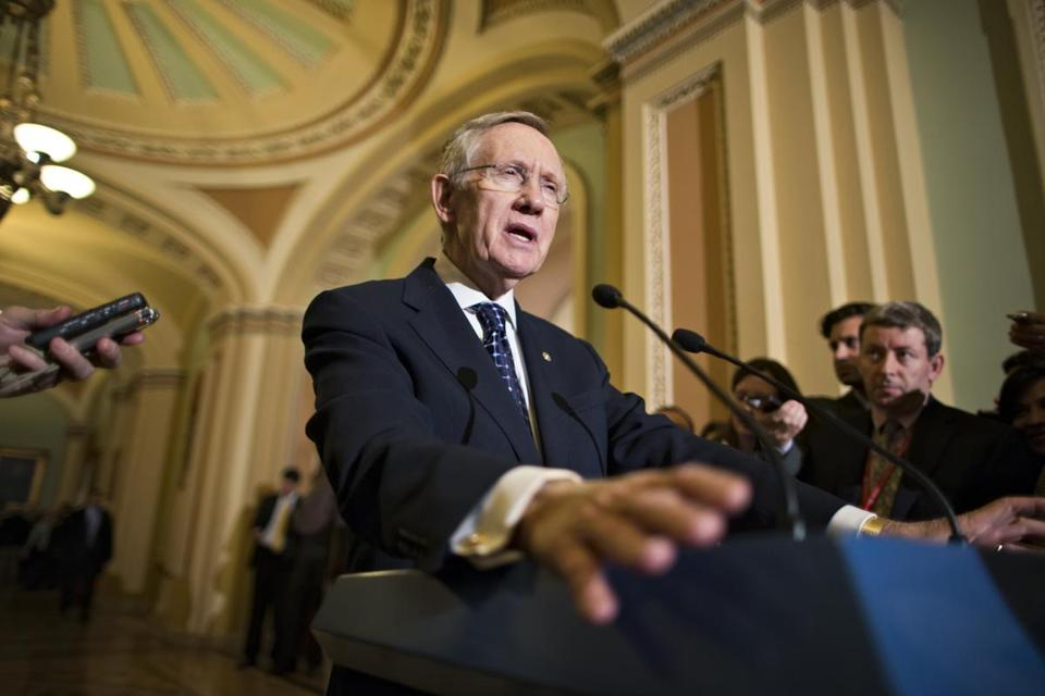 Senate Majority Leader Harry Reid, D-Nev., spoke with reporters following a Democratic strategy session at the Capitol in Washington, Tuesday, Jan. 22, 2013.