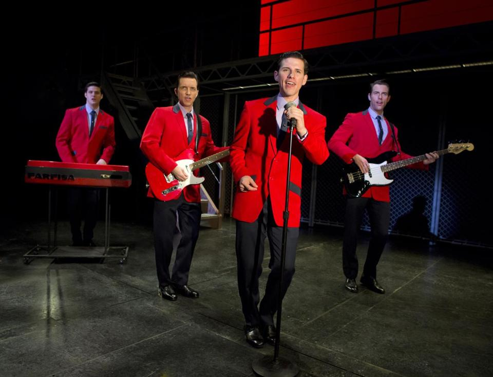 "From left: Miles Jacoby, John Gardiner, Nick Cosgrove, and Michael Lomenda in ""Jersey Boys.''"