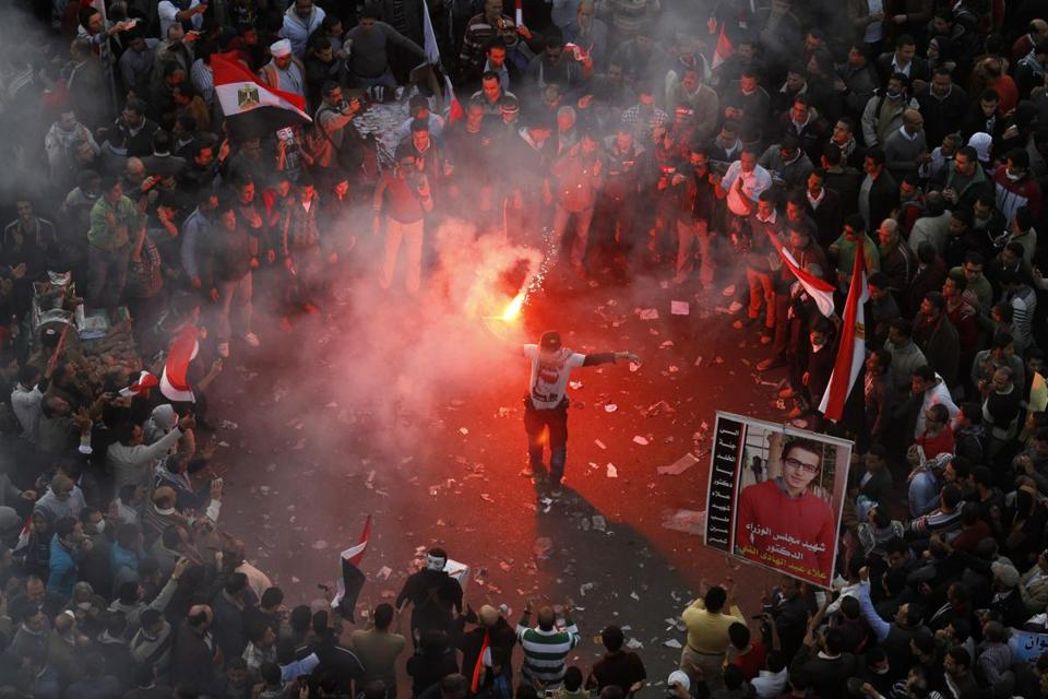 Thousands of demonstrators protested in Tahrir Square on Friday on the second anniversary of Egypt's revolution.