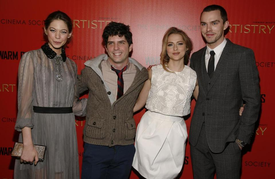 "From left: Analeigh Tipton, Jonathan Levine, Teresa Palmer, and Nicholas Hoult at the ""Warm Bodies"" premiere in New York."