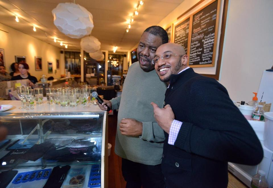 Biz Markie (left) with Joselin Mane of Boston at 3 Scoops Cafe.