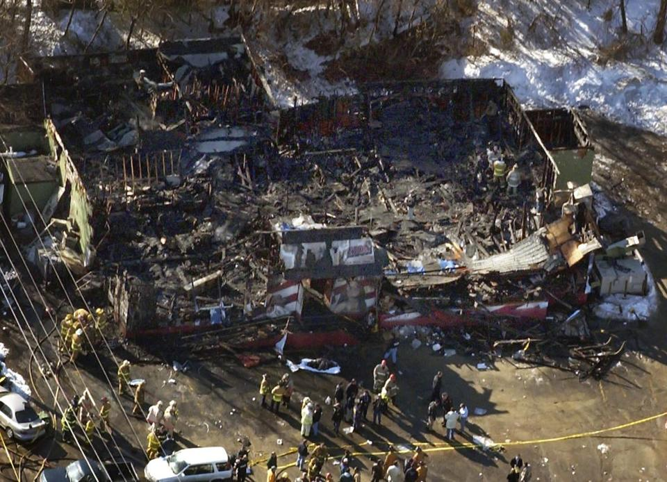 The damage at The Station nightclub following a deadly 2003 fire in West Warwick, R.I.