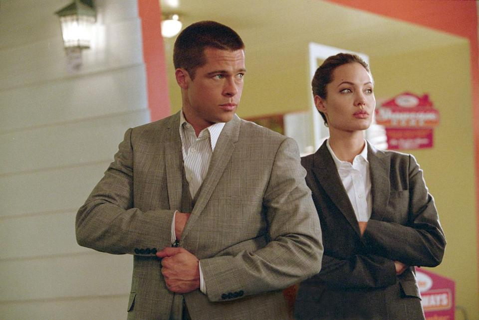 "Brad Pitt and Angelina Jolie take shots at each other in ""Mr. and Mrs. Smith.''"