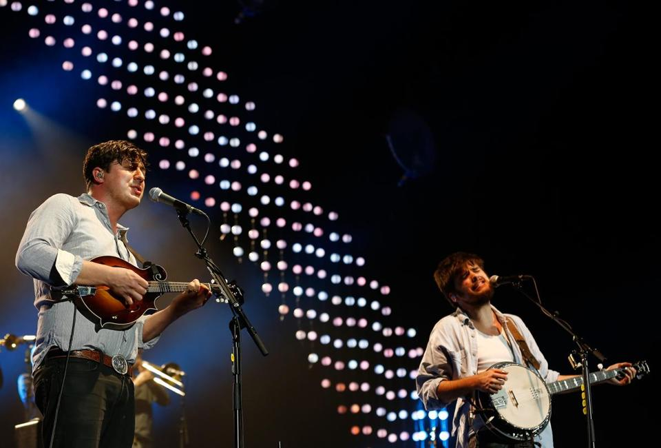 Marcus Mumford and Winston Marshall of Mumford and Sons performing in London last year.