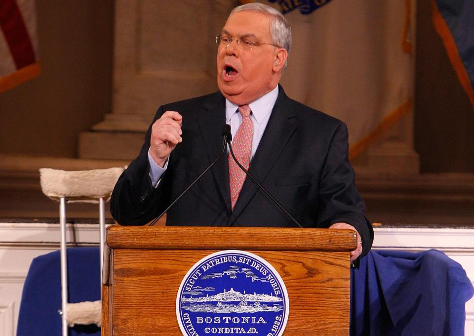 Mayor Thomas M. Menino (shown speaking last year) said he is focused on the tone of this year's address.