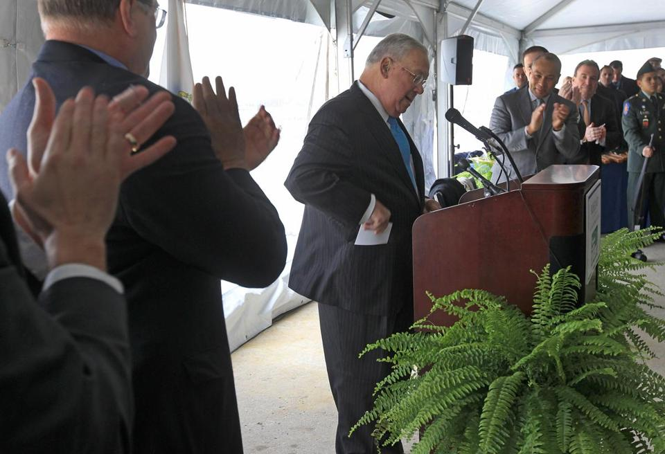 Boston Mayor Thomas M. Menino spoke at a ceremonial groundbreaking for Portside at Pier One, a long-delayed residential construction project on the East Boston waterfront, Monday, Jan. 28.