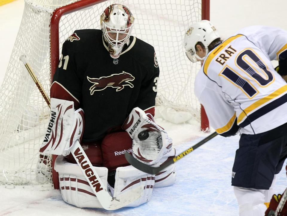 Chad Johnson, making his seventh NHL appearance after being called up from Portland of the AHL last week, had 21 saves for the Coyotes.