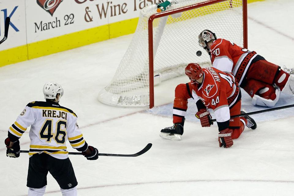 David Krejci sees what the Hurricanes see — his winner in the net.