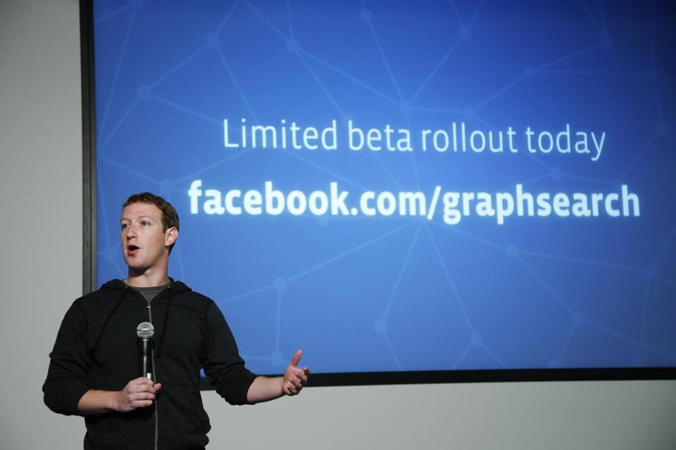 Facebook chairman Mark Zuckerberg introduced Graph Search features during a presentation early this month.