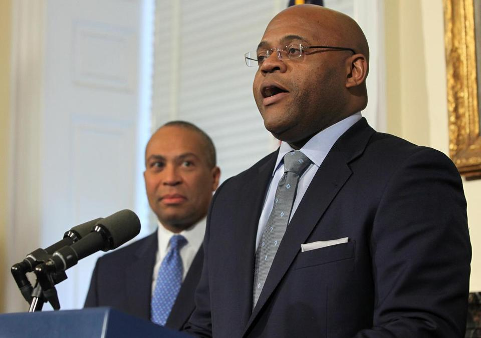"Governor Deval Patrick (left) tapped William ""Mo"" Cowan as the interim US Senator to replace John Kerry."