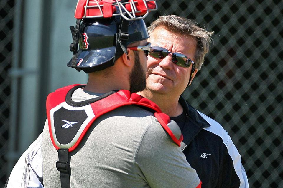 Red Sox bullpen coach Gary Tuck (with former Red Sox catcher Kelly Shoppach) resigned from his position Tuesday for personal reasons.