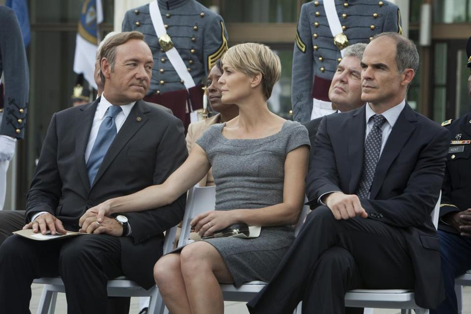 "From left: Kevin Spacey, Robin Wright, and Michael Kelly in a scene from ""House of Cards."""