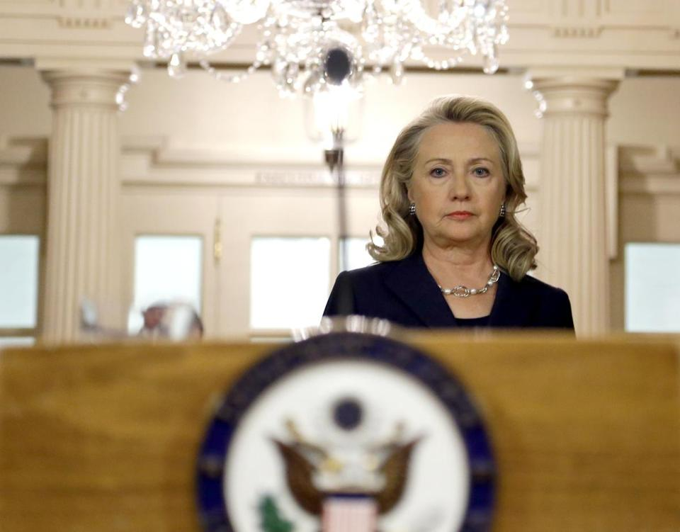 Secretary of State Hillary Rodham Clinton arrived at the State Department in Washington on Sept. 12 to speak about the deaths of Americans in Libya.