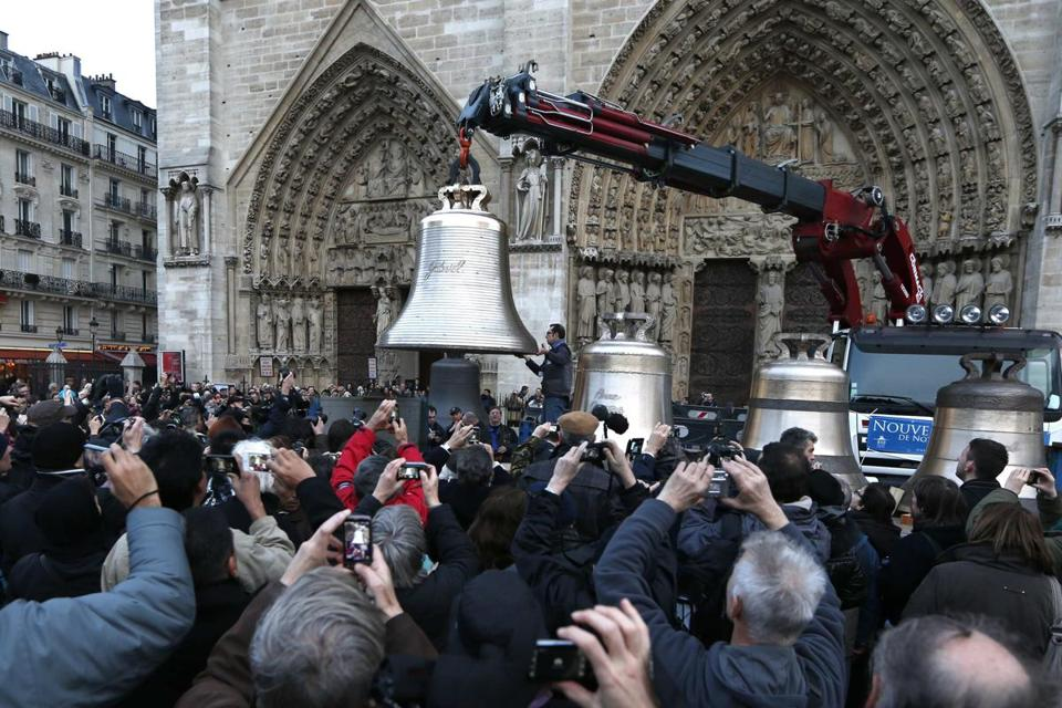 The nine bells will be displayed outside Notre Dame until Feb. 25, and then will be hoisted into the cathedral's towers.