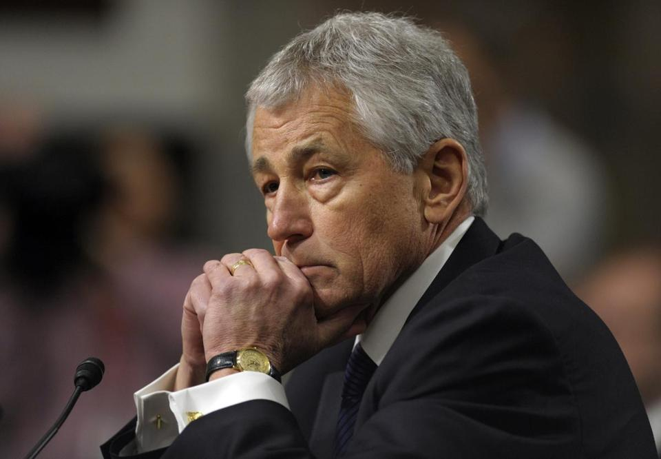 Republican Chuck Hagel testified before the Senate Armed Services Committee during his confirmation hearing.