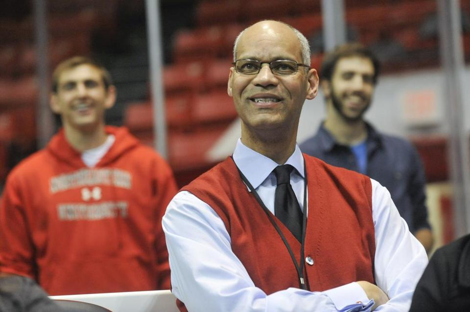 Peter Roby, Northeastern athletic director, at a Northeastern basketball game. Jon Chase for the Boston Globe