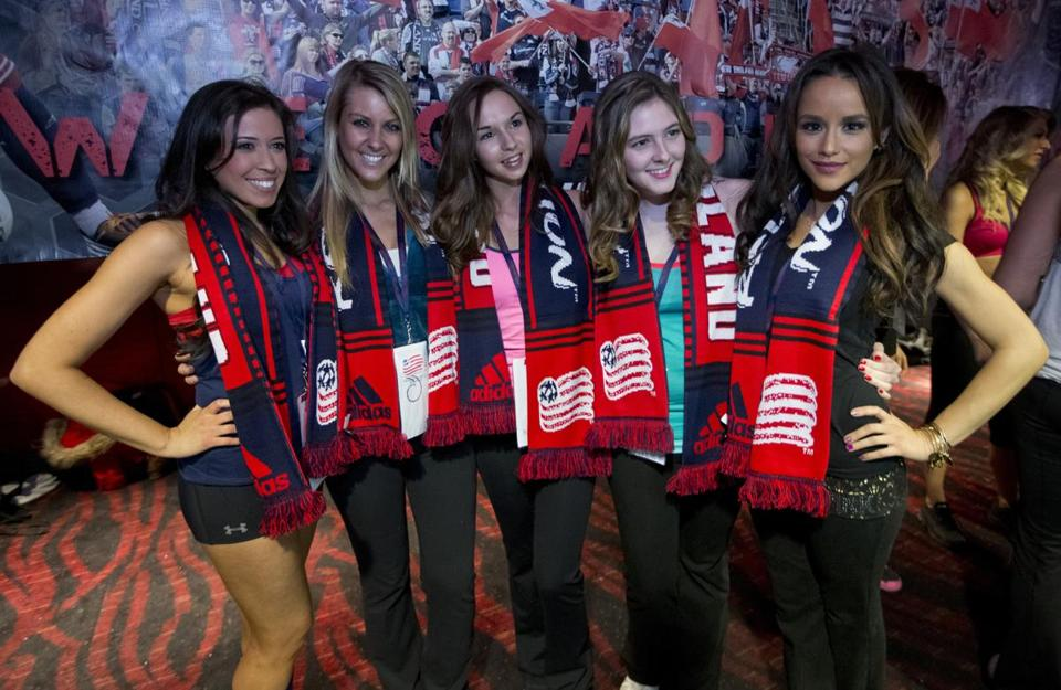 From left: Brittany Clement, Wendy Pollack, Stephanie Ballou, Meghan Bradshaw, and Jessica Graf after the New England Revolution's Rev Girls audition finals at Game On!