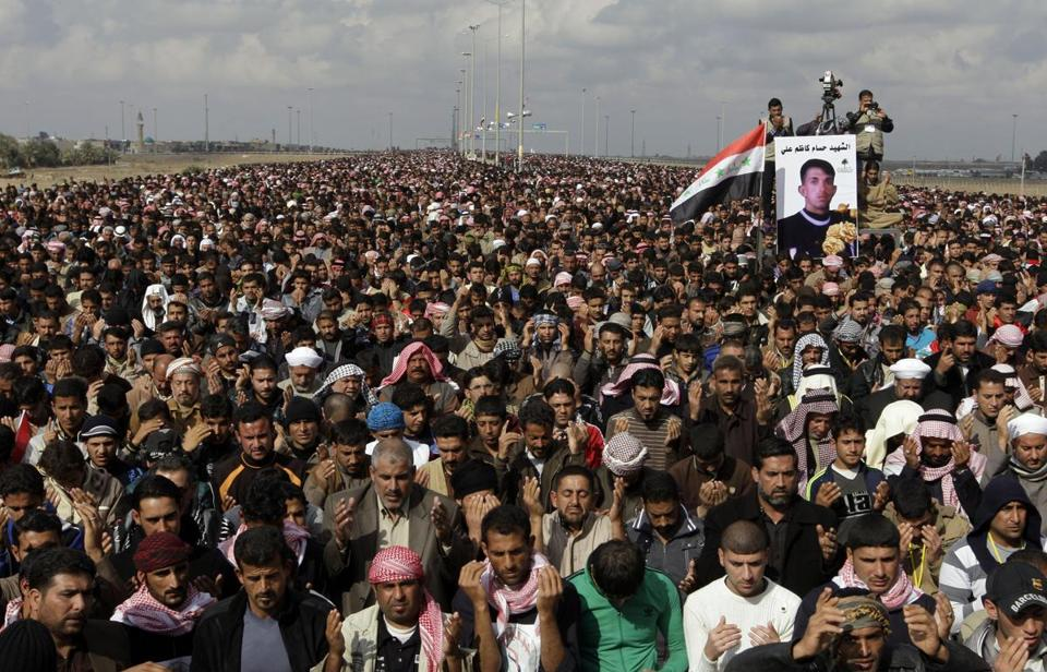 Tens of thousands held noon prayers on the road leading to Jordan. Others marched in Baghdad and Samarra.