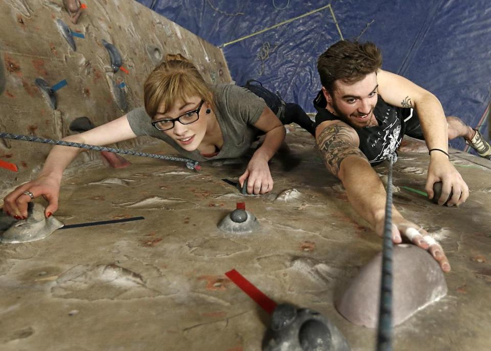 Meghan Hamilton climbed with Shane Welsh at The Boston Rock Gym in Woburn.
