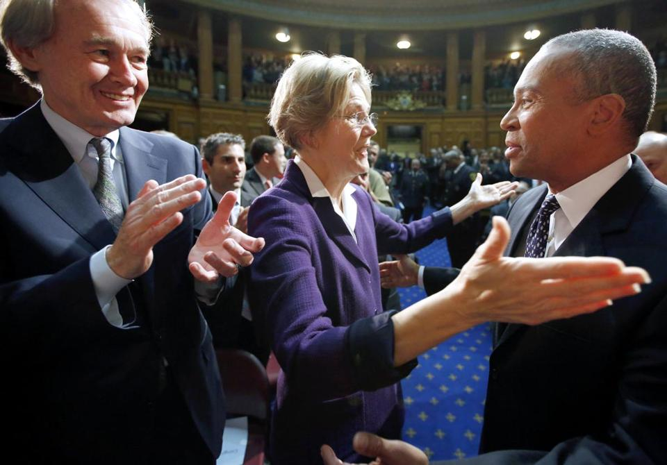 Representative Ed Markey applauded as Senator Elizabeth Warren greeted Governor Deval Patrick before his State of the State address on Jan. 16.