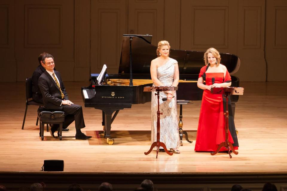 From left: Bradley Moore, Susan Graham, and Renée Fleming at Symphony Hall.