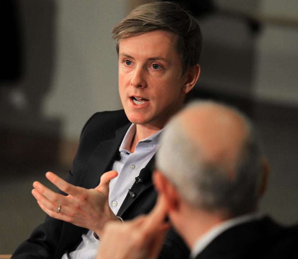 Chris Hughes speaking at the Kennedy School on Tuesday.