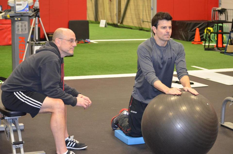 Jordan Knight (right) trains for the NKOTB tour with Mike Boyle.