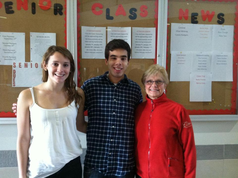 Interact Club copresidents, from left, Kelly Roland and Brian Hough, with teacher and adviser Joan Stomatuk, who may well take an icy swim next month.