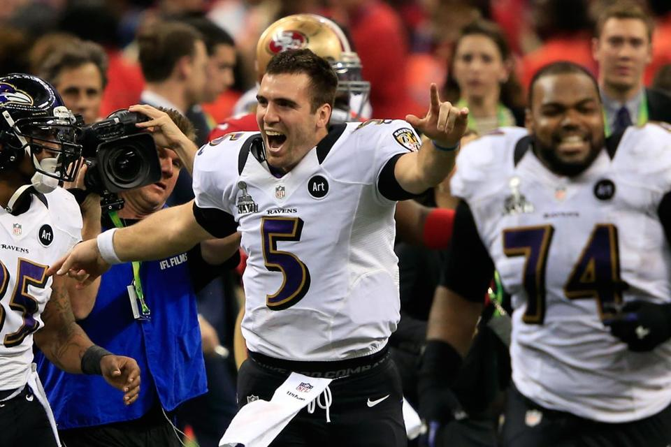 Joe Flacco, who was named Super Bowl XLVII MVP, is No. 1 as he began to celebrate after the Ravens defeated the 49ers Sunday.