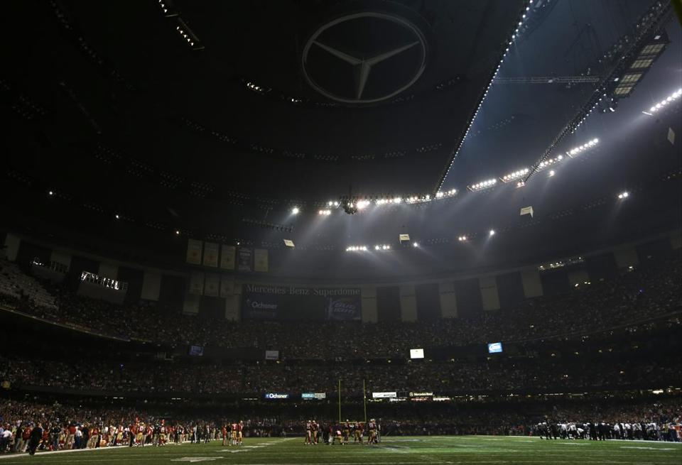 The power outage left much of the Superdome in the dark during the Super Bowl.