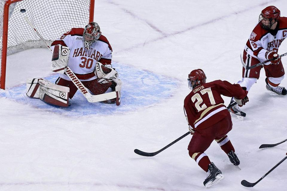 BC's Quinn Smith scored the first of his two goals in the first period.