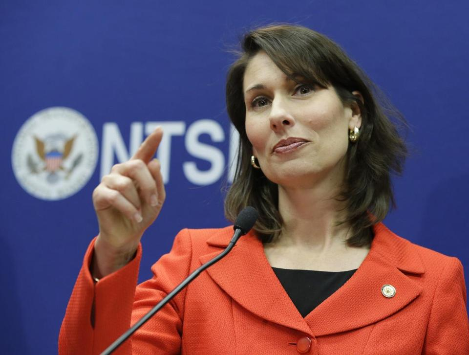 Deborah Hersman, who heads the NTSB, said the board is still weeks away from determining the cause of a Jan. 7 airplane battery fire at Logan Airport in Boston.
