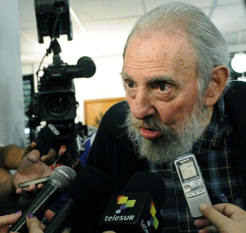 Fidel Castro, 86, speaks to reporters at a polling station in Havana Feb. 3.