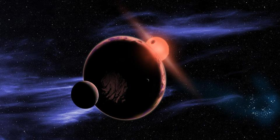 An artist's conception provided by the Harvard-Smithsonian Center for Astrophysics shows a hypothetical planet with two moons orbiting in the habitable zone of a red dwarf star.