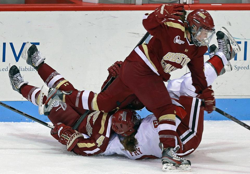 BC's Dru Burns was the last player standing after a first-period collision involving teammate Melissa Bizzari and Harvard's Lyndsey Fry.