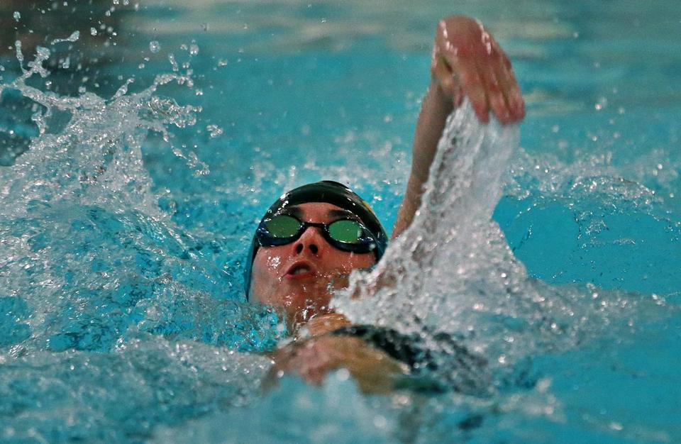 Matteo Grando of Boston Latin Academy swam to a second place finish in the 200 individual medley at the City Swim Championships at Madison Park High School on Wednesday.