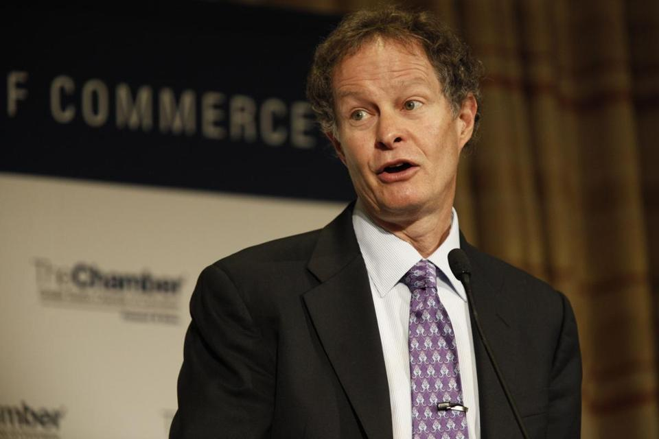 John Mackey, CEO of Whole Foods Market, spoke at a Greater Boston Chamber of Commerce event.