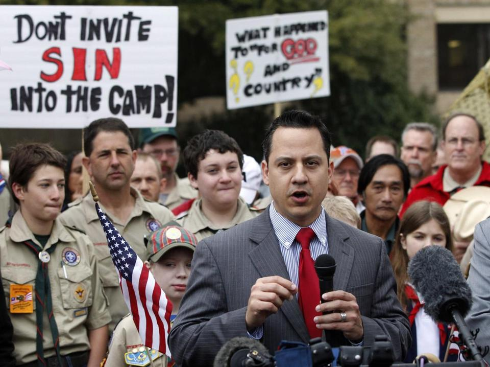 Jonathan Saenz, president of Texas Values, was among those imploring the Boy Scouts to continue excluding gays.