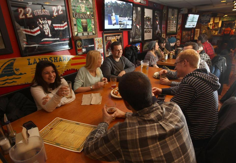 Conor Larkin's Grill & Tap, near the campus of Northeastern University, was busy because the school was closed.