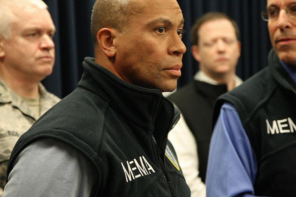 Governor Deval Patrick was at the Emergency Management Agency headquarters wearing his familiar fleece vest.