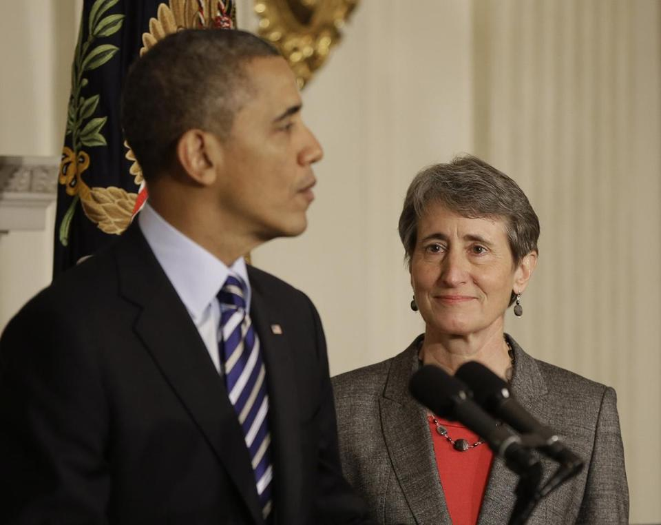 President Barack Obama, left, announced he is nominating REI CEO Sally Jewell, right, as the next Interior Secretary replacing outgoing Interior Secretary Ken Salazar, during an event in the State Dining Room of the White House in Washington, Wednesday, Feb. 6, 2013.