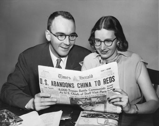 Mrs. Tankersley, known as Bazy Miller at the time, with her first husband, M. Peter Miller Jr., in 1949. She ran the Washington Times-Herald when she was 28.