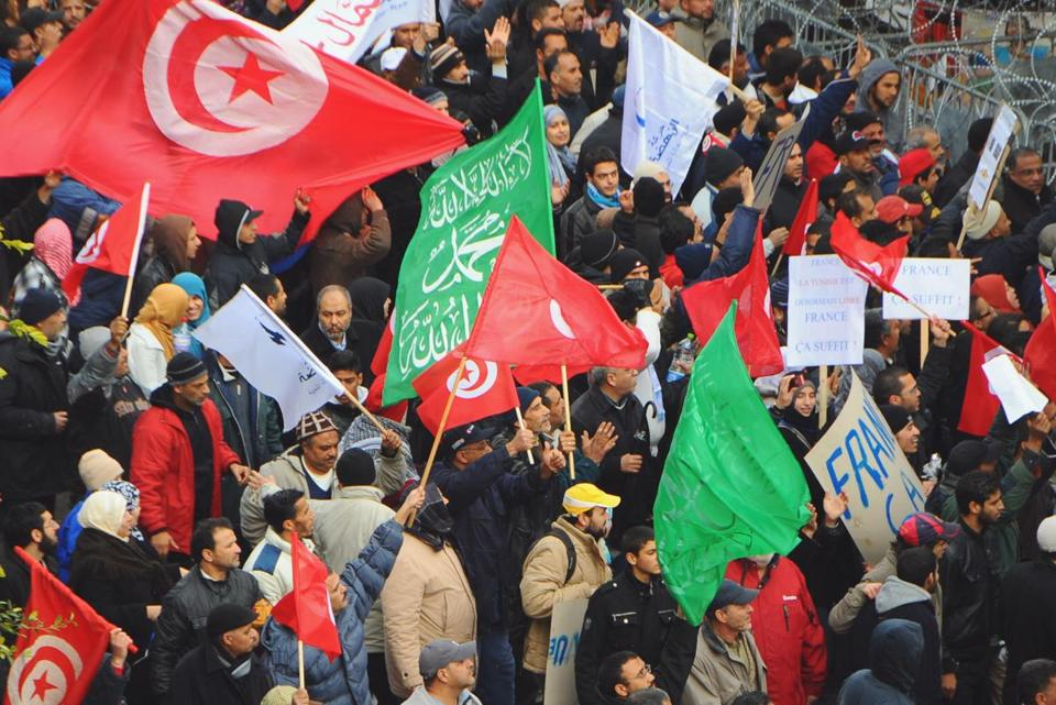 Protesters rallied in Tunis on Saturday, a day after the funeral for an opposition leader.