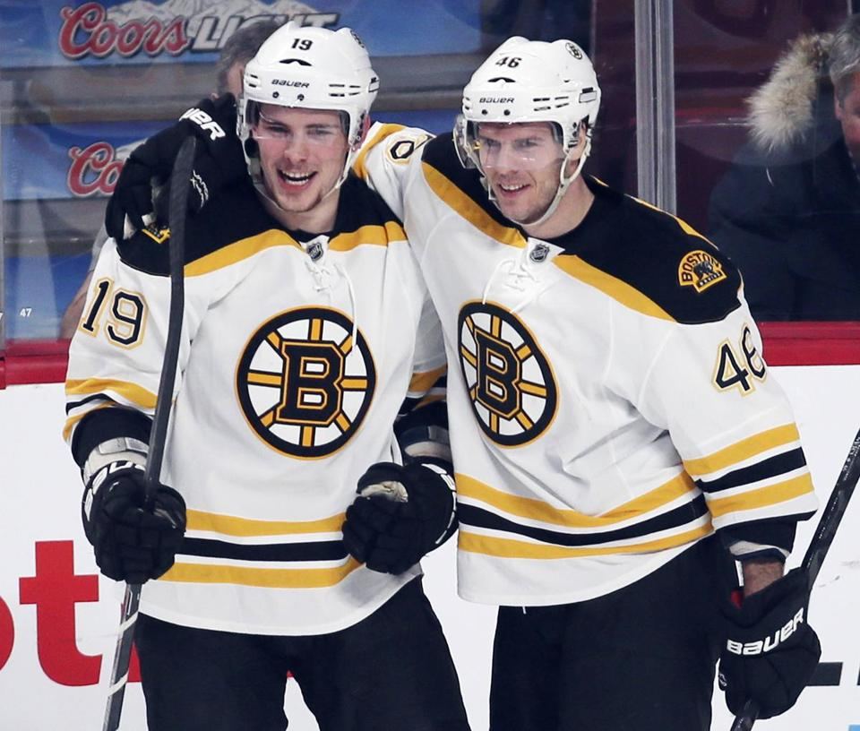 David Krejci (right) and Tyler Seguin performed well as linemates Wednesday in Montreal.
