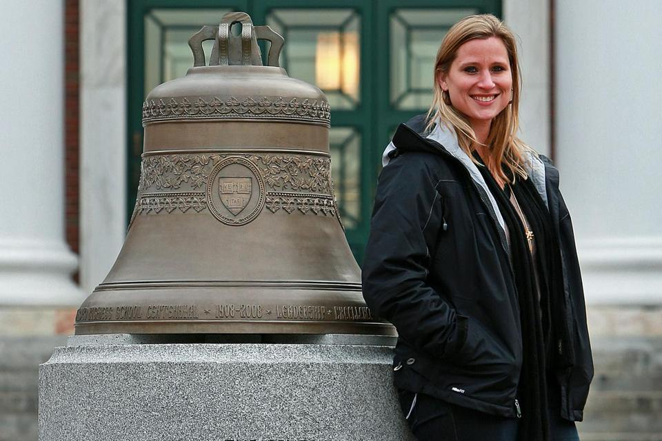 Ex-Crimson star Angela Ruggiero finds some time for her studies at Harvard Business School.