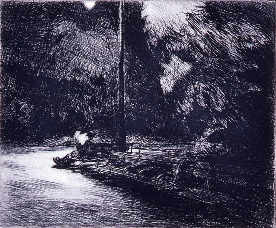 "Edward Hopper's etching ""Night in the Park"" (1921) from the exhibit ""Stone, Wood, Metal, Mesh,"" also up at the Addison Gallery."