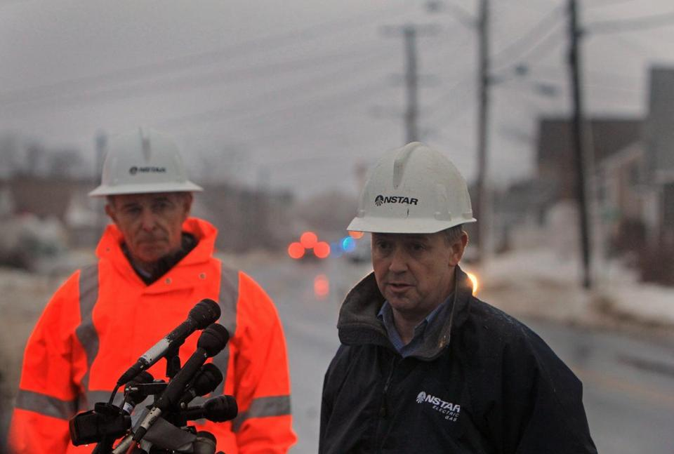 Craig Hallstrom, right, NStar president, and Tom May, CEO of parent company Northeast Utilities, met with reporters in Marshfield to discuss power outages.