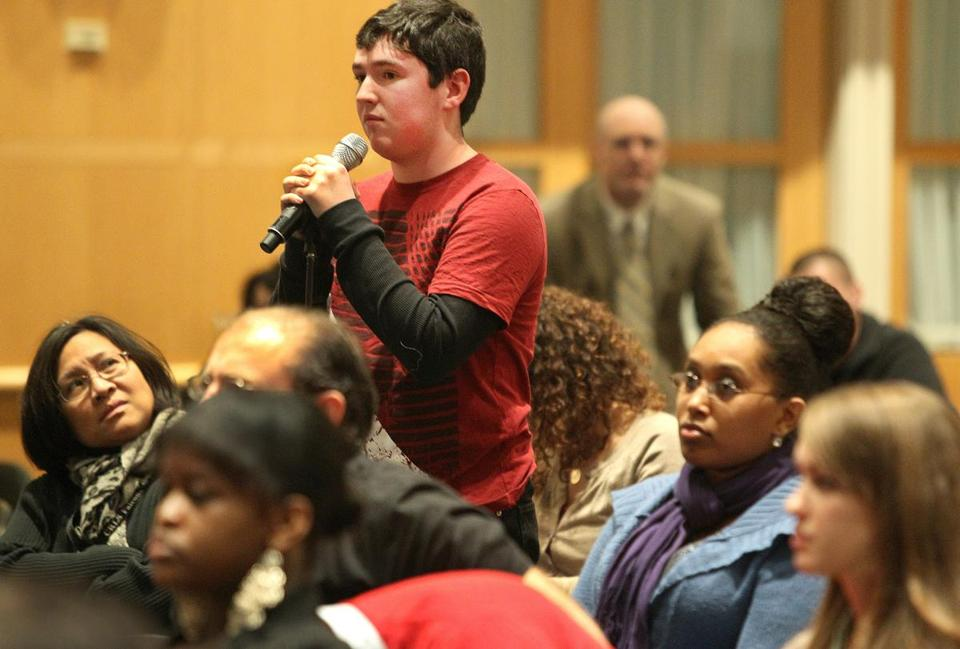 "Joe Maresco, 16, of Marshfield High School posed a question to professor Kerri Greenidge after watching the film ""Lincoln"" Tuesday at the John F. Kennedy Presidential Library."