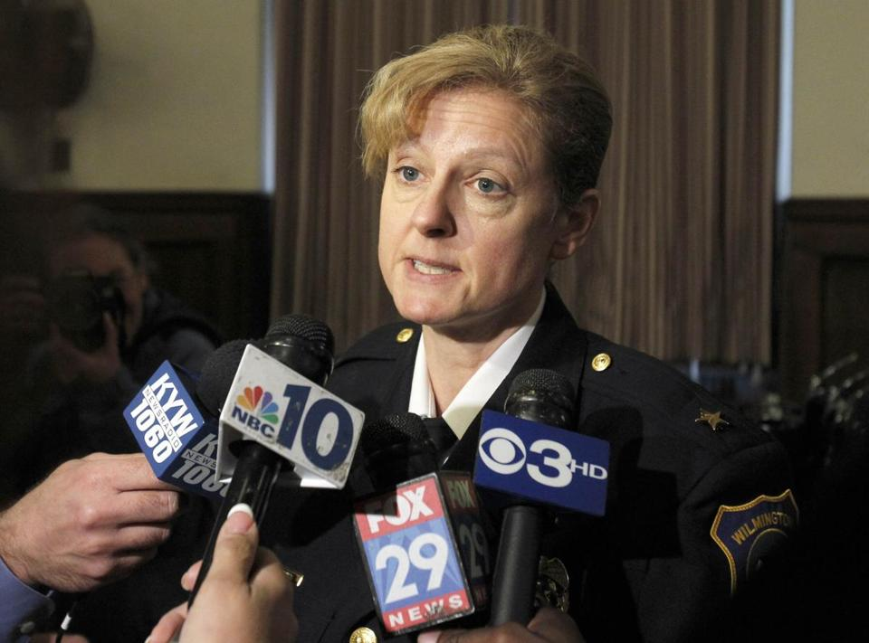 Christine Dunning, police chief in Wilmington, discussed the courthouse shooting after a conference on gun control.